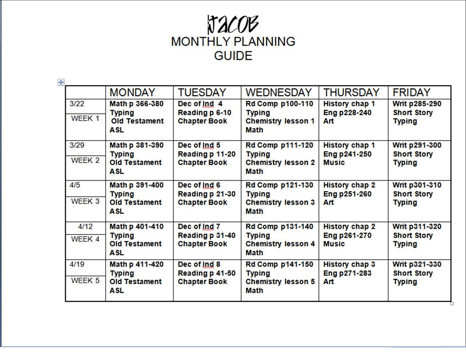 Monthly Lesson Plans Insssrenterprisesco - Monthly lesson plan template free