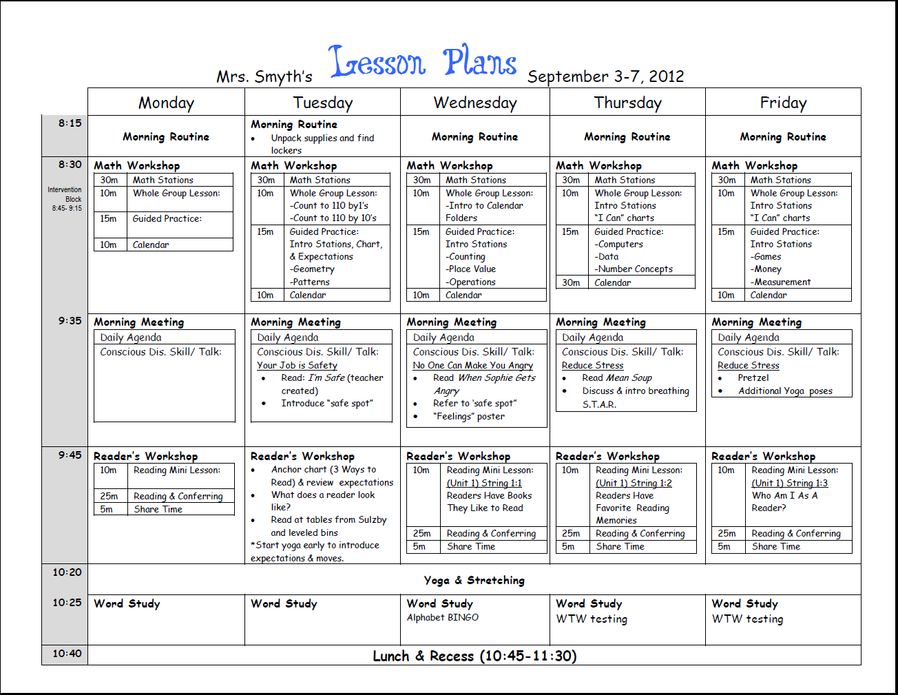 Common Core Lesson Plans Printable Lesson Plan Template