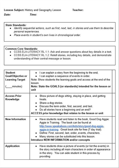 Kindergarten siop lesson plans for New york state lesson plan template