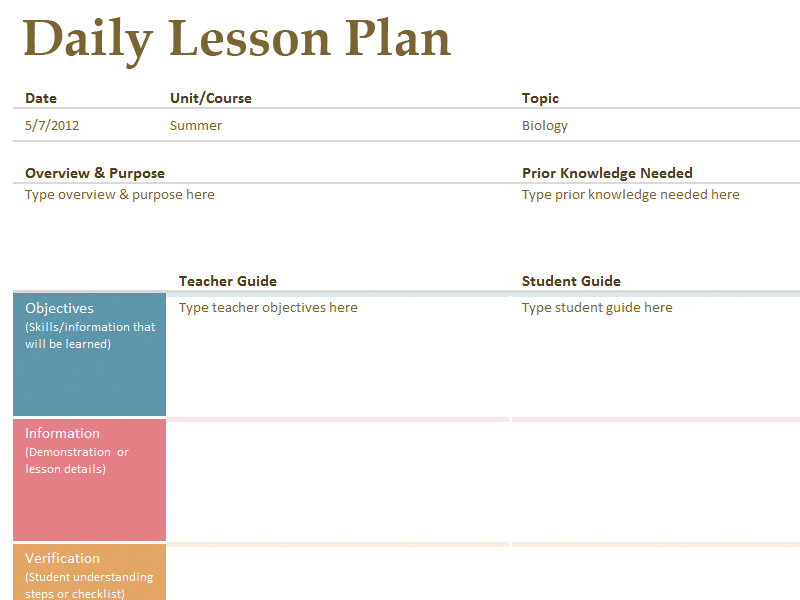 Printable Lesson Plan Template Free To Download