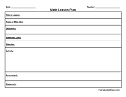 Printable Lesson Plan Template FREE To Download - Common core math lesson plan template