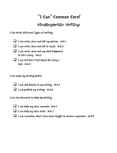 i can common core statements kindergarten writing