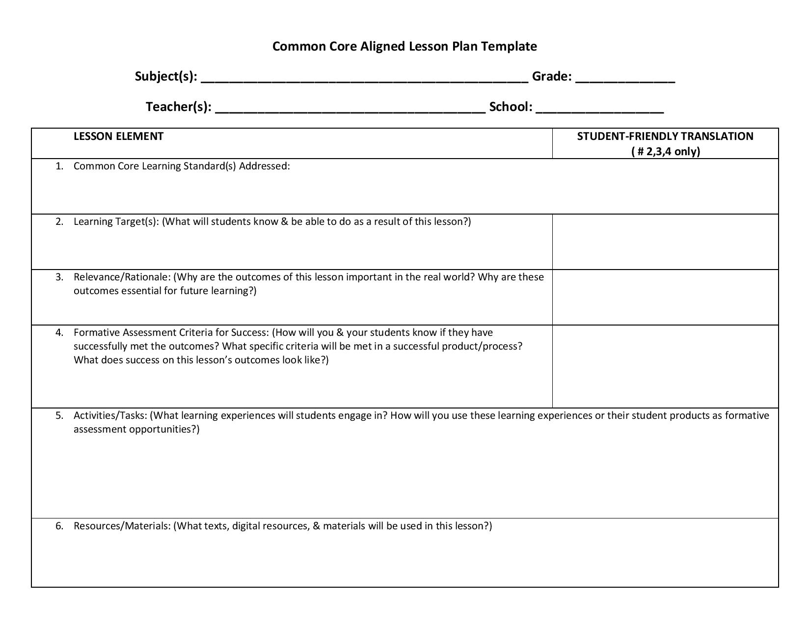 lesson plan template using common core standards lesson planning templates ccss